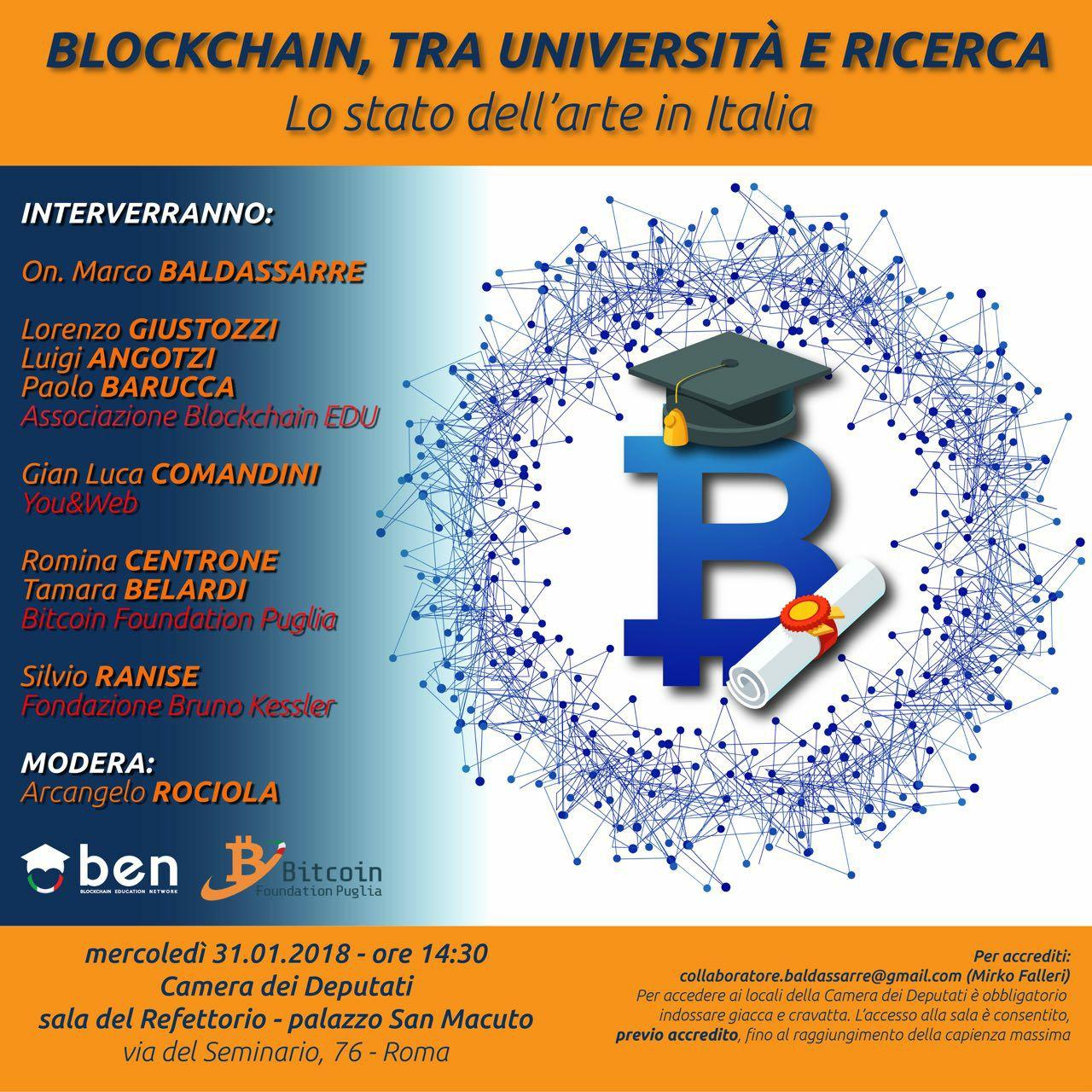 Locandina Camera dei Deputati 31-01-2018 Blockchain: tra Università e Ricerca